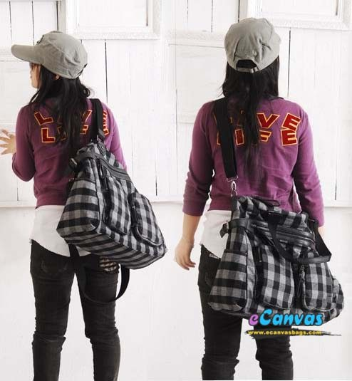 Comfortable cotton plaid bag, fashion black plaid multi-pocket ...