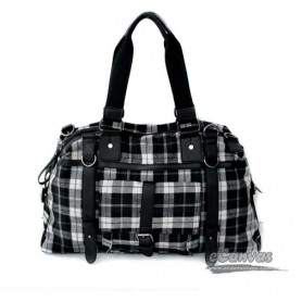 Cotton plaid traveling bag, Canvas Flight Bag, real leather shoulder strap, black & khaki