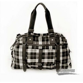 khaki Cotton plaid traveling bag