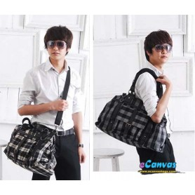 Cotton plaid traveling bag for men