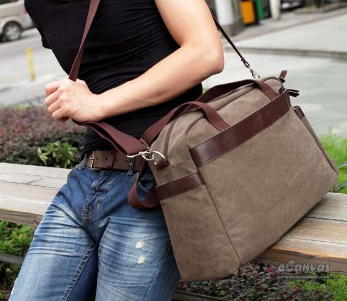 High end messenger bag, coffee laptop bag 15 inch - E-CanvasBags