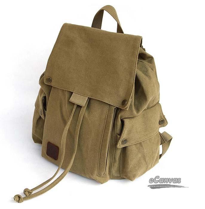 Coffee Canvas Drawstring Bags Khaki