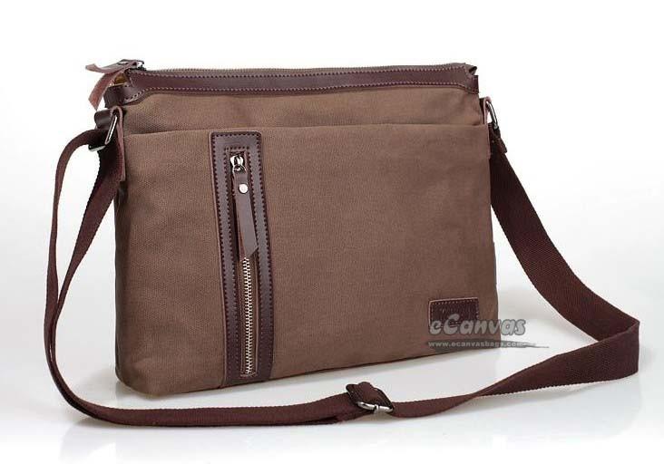 Mens messenger bags canvas, coffee mens shoulder bag - E-CanvasBags