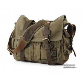 Perfect canvas messenger shoulder bag, army green, khaki