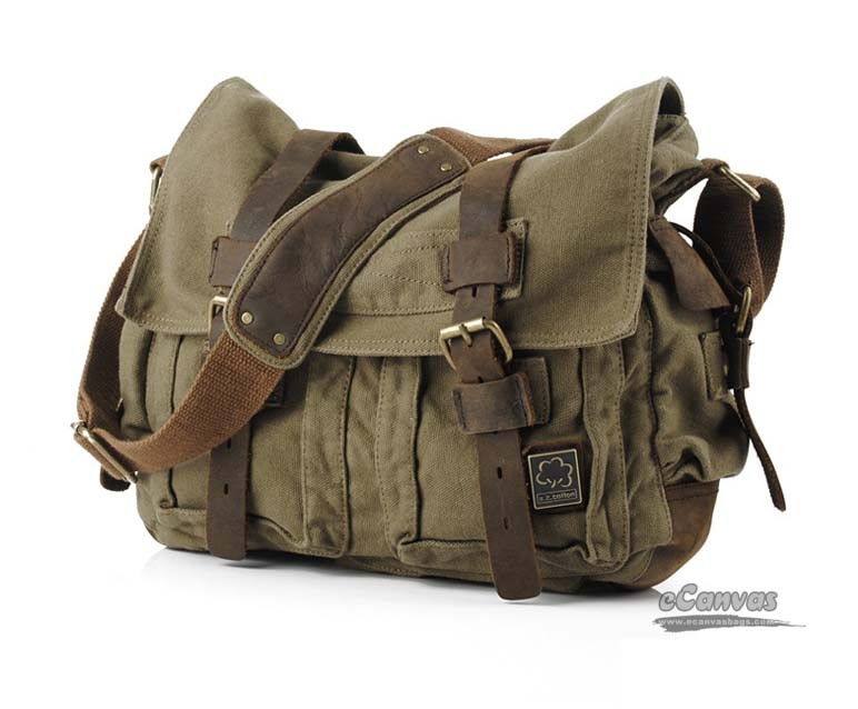 Perfect canvas messenger shoulder bag, army green, khaki - E ...