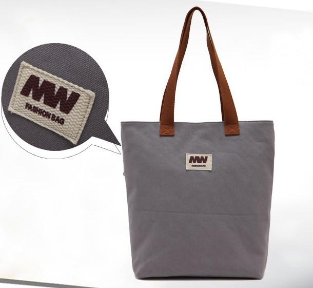 Cheap canvas tote bag, grey canvas shopping bag - E-CanvasBags