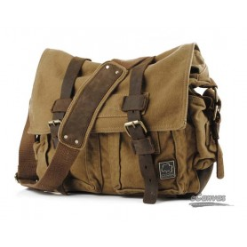 khaki canvas messenger shoulder bag