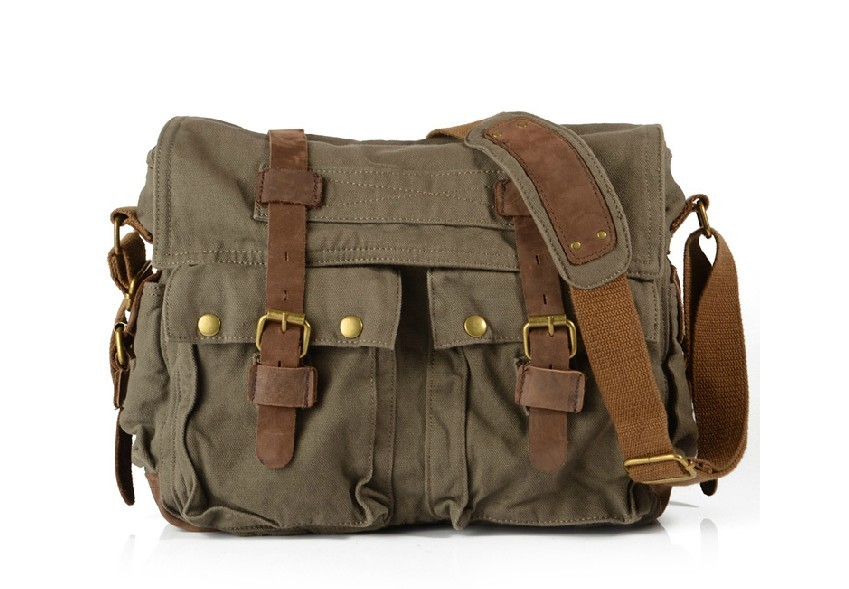 Khaki messenger bag, army green man messenger bag - E-CanvasBags