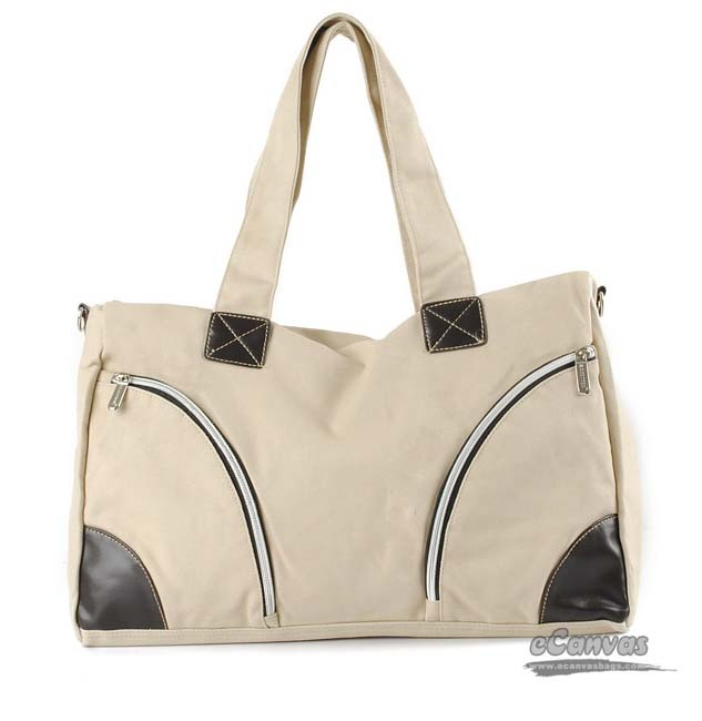 Discount canvas tote bags, large canvas tote bags, black & beige ...