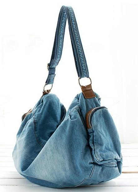 Blue jean purse, cute bag for school - E-CanvasBags