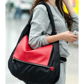 Black leather shoulder bag, nylon hobo bag