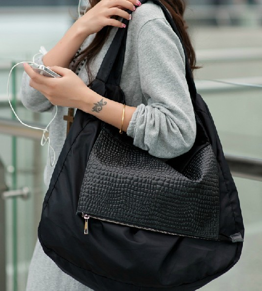 Black leather shoulder bag, nylon hobo bag - E-CanvasBags