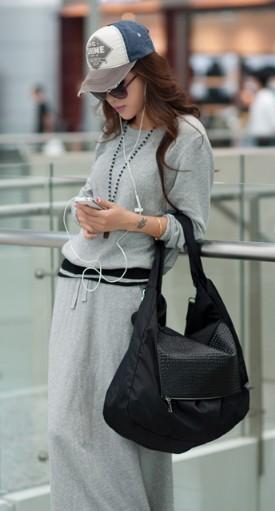 Black Nylon Hobo Bag
