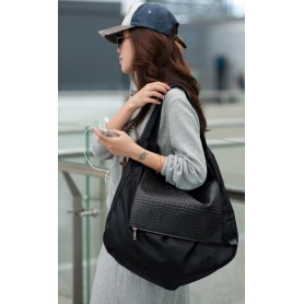 Black leather shoulder bag nylon