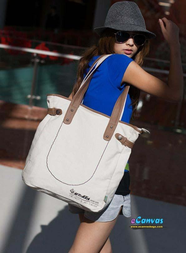 Stylish handbags canvas tote bags, promotional canvas bags, khaki ...