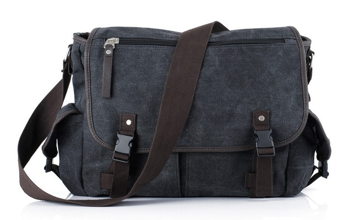 ... black Canvas messenger bag for men ... d7fbb0effb8d3