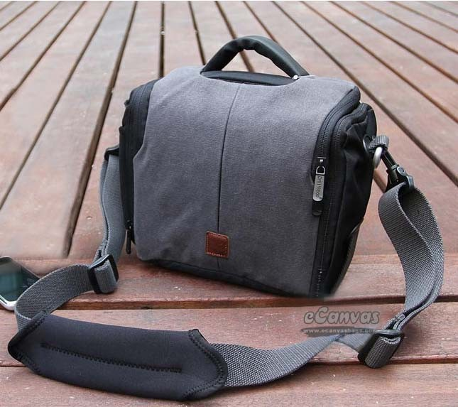 gray Single reflex camera canvas case with rain cover