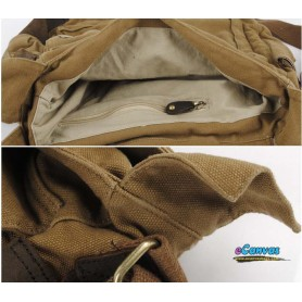canvas messenger shoulder bag genuine leather