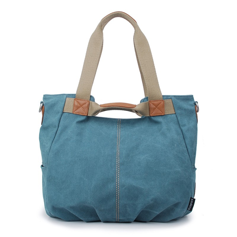 Canvas zipper bag, Shoulder Bags, stylish handbag, blue & grey - E ...