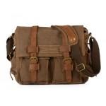 Canvas and leather messenger bag, canvas shoulder bag