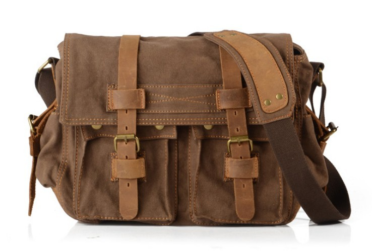 Canvas and leather messenger bag, canvas shoulder bag - E-CanvasBags