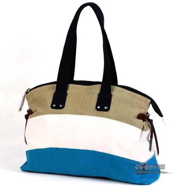 Canvas totes, canvas beach handbag, coloured stripes bag, blue ...