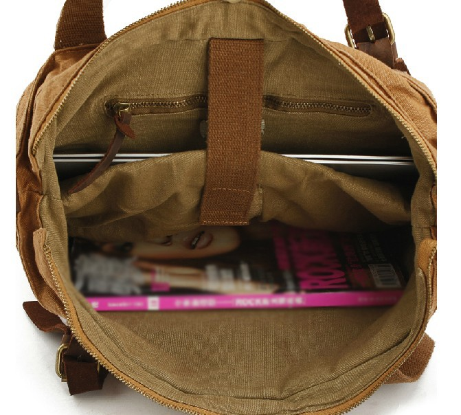 Canvas and leather messenger bag, canvas messenger bag for school ...