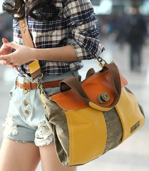 Canvas Shoulder Bag Women Canvas And Leather Messenger
