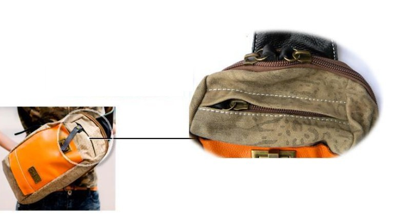 469b09e347 ... orange one strap book bag  canvas School backpacks for girls ...