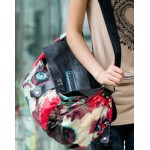 Leather and canvas messenger bag, womens messenger bag