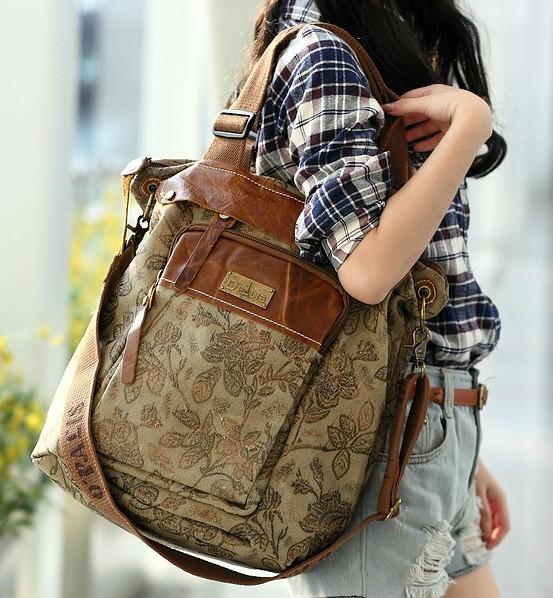 Canvas Satchel Messenger Bag Bookbag