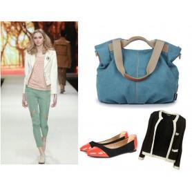 Canvas zipper Shoulder Bag