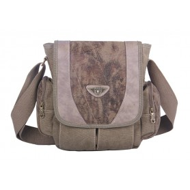 khaki satchel messenger bag