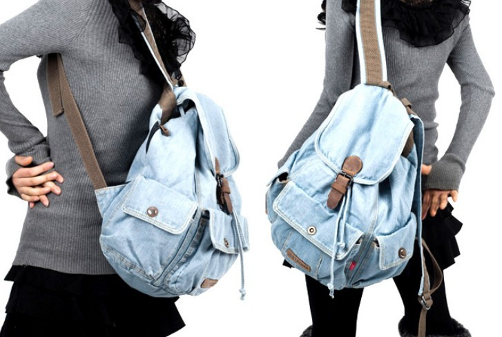 ... blue canvas backpack purse for women ... 4f23e1e8495bb