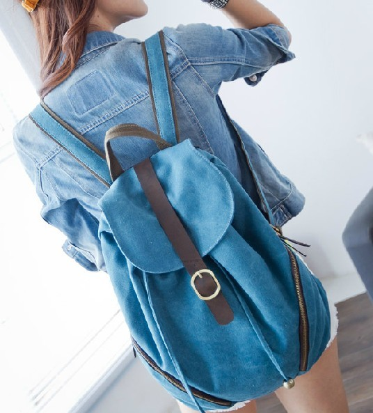 ... blue Canvas backpack purses women ... d9258924f