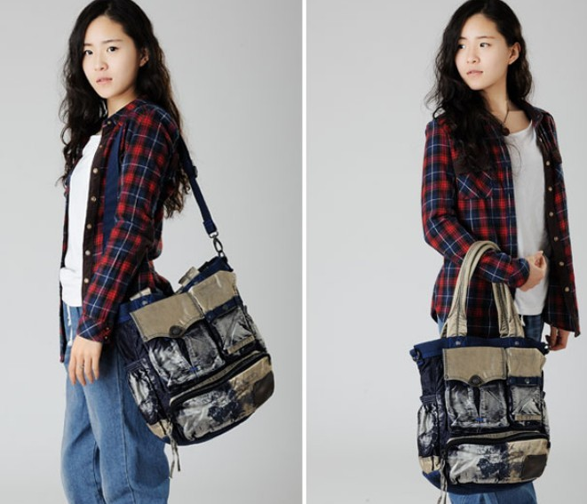 Jean tote bag, best messenger bag - E-CanvasBags
