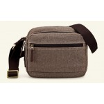 Shoulder bag small, khaki canvas messenger bag