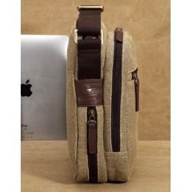 khaki IPAD mens canvas shoulder bag