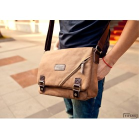 iPhone canvas messenger bag coffee