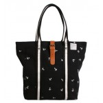Women handbag, black canvas tote bag