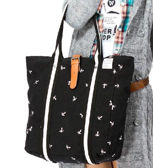 Women handbag, black canvas tote bag - E-CanvasBags