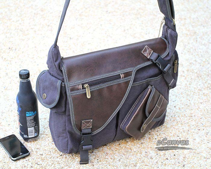 Dark gray canvas leather messenger bag, multiple pockets - E ...