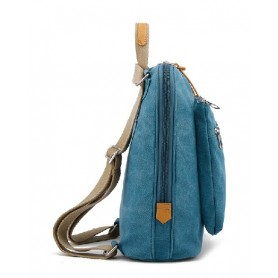 blue fabric messenger bag