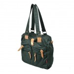 Cotton canvas shoulder book bag with cowhide