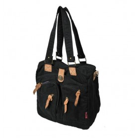Black Cotton canvas shoulder book bag