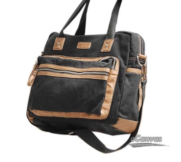 Black Canvas Laptop Crossbody Handbag