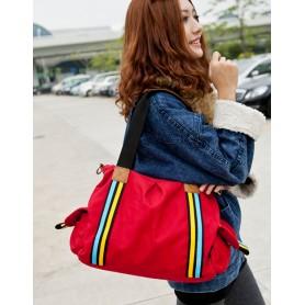 canvas red handbag